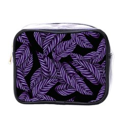 Tropical Leaves Purple Mini Toiletries Bag (one Side)