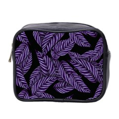 Tropical Leaves Purple Mini Toiletries Bag (two Sides)