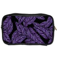 Tropical Leaves Purple Toiletries Bag (two Sides)
