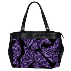 Tropical Leaves Purple Oversize Office Handbag (2 Sides)