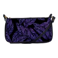 Tropical Leaves Purple Shoulder Clutch Bag