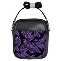 Tropical Leaves Purple Girls Sling Bag