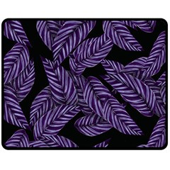 Tropical Leaves Purple Fleece Blanket (medium)