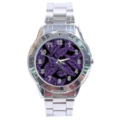 Tropical Leaves Purple Stainless Steel Analogue Watch