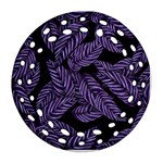 Tropical Leaves Purple Ornament (Round Filigree) Front
