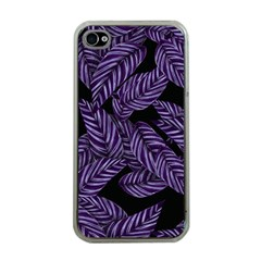 Tropical Leaves Purple Apple Iphone 4 Case (clear)