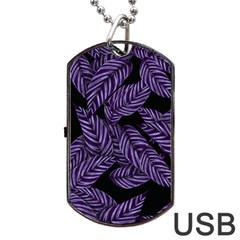 Tropical Leaves Purple Dog Tag Usb Flash (two Sides)
