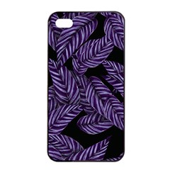 Tropical Leaves Purple Apple Iphone 4/4s Seamless Case (black)