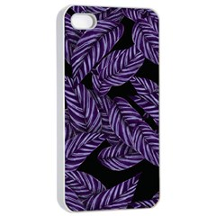 Tropical Leaves Purple Apple Iphone 4/4s Seamless Case (white)