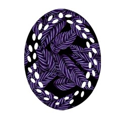 Tropical Leaves Purple Oval Filigree Ornament (two Sides)