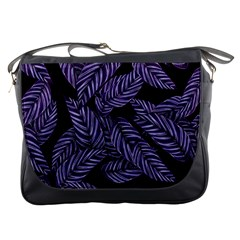 Tropical Leaves Purple Messenger Bag