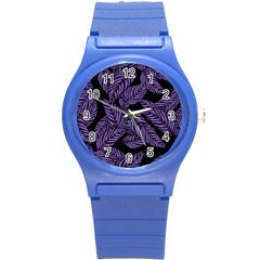 Tropical Leaves Purple Round Plastic Sport Watch (s)