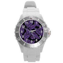 Tropical Leaves Purple Round Plastic Sport Watch (l)