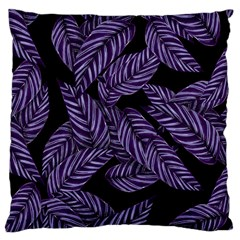 Tropical Leaves Purple Large Cushion Case (two Sides)