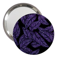 Tropical Leaves Purple 3  Handbag Mirrors