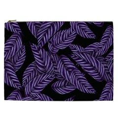 Tropical Leaves Purple Cosmetic Bag (xxl)