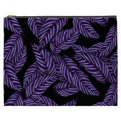Tropical Leaves Purple Cosmetic Bag (xxxl)