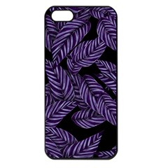 Tropical Leaves Purple Apple Iphone 5 Seamless Case (black)