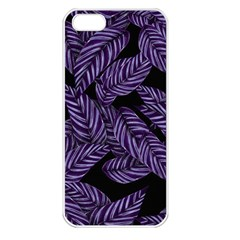 Tropical Leaves Purple Apple Iphone 5 Seamless Case (white)