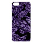 Tropical Leaves Purple Apple iPhone 5 Seamless Case (White) Front