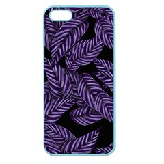Tropical Leaves Purple Apple Seamless Iphone 5 Case (color)