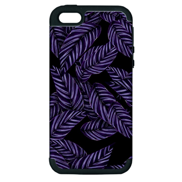 Tropical Leaves Purple Apple iPhone 5 Hardshell Case (PC+Silicone)