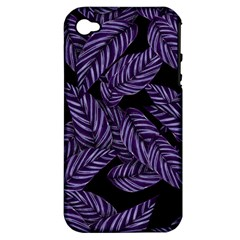 Tropical Leaves Purple Apple Iphone 4/4s Hardshell Case (pc+silicone)