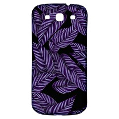 Tropical Leaves Purple Samsung Galaxy S3 S Iii Classic Hardshell Back Case