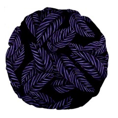 Tropical Leaves Purple Large 18  Premium Round Cushions