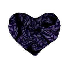 Tropical Leaves Purple Standard 16  Premium Heart Shape Cushions