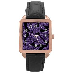 Tropical Leaves Purple Rose Gold Leather Watch