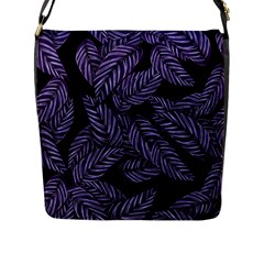Tropical Leaves Purple Flap Closure Messenger Bag (l)