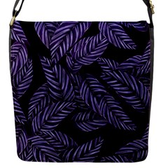 Tropical Leaves Purple Flap Closure Messenger Bag (s)