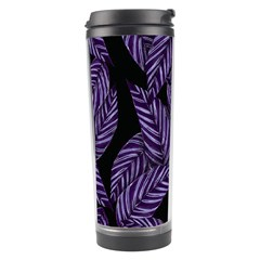 Tropical Leaves Purple Travel Tumbler