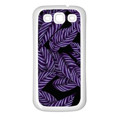 Tropical Leaves Purple Samsung Galaxy S3 Back Case (white)
