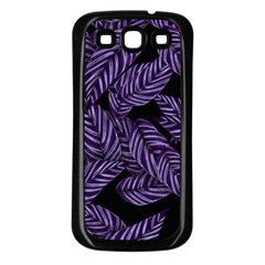 Tropical Leaves Purple Samsung Galaxy S3 Back Case (black)