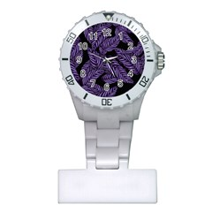 Tropical Leaves Purple Plastic Nurses Watch