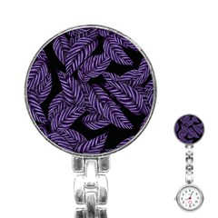 Tropical Leaves Purple Stainless Steel Nurses Watch