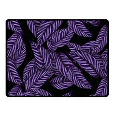 Tropical Leaves Purple Double Sided Fleece Blanket (small)