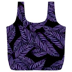 Tropical Leaves Purple Full Print Recycle Bag (xl)