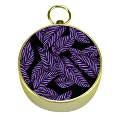 Tropical Leaves Purple Gold Compasses