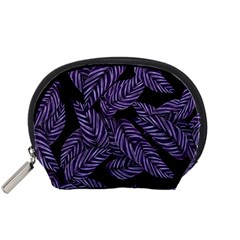 Tropical Leaves Purple Accessory Pouch (small)
