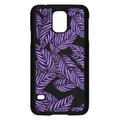 Tropical Leaves Purple Samsung Galaxy S5 Case (black)