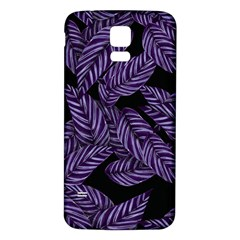 Tropical Leaves Purple Samsung Galaxy S5 Back Case (white)
