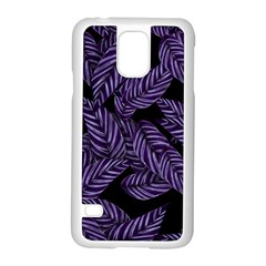 Tropical Leaves Purple Samsung Galaxy S5 Case (white)