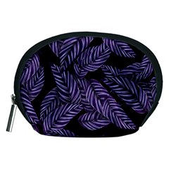 Tropical Leaves Purple Accessory Pouch (medium)