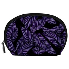 Tropical Leaves Purple Accessory Pouch (large)