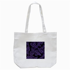 Tropical Leaves Purple Tote Bag (white)