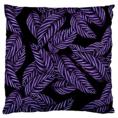 Tropical Leaves Purple Large Flano Cushion Case (one Side)