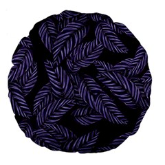 Tropical Leaves Purple Large 18  Premium Flano Round Cushions